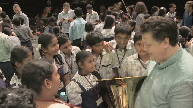 SSO trip to India - students learning about the Tuba