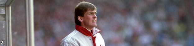 Kenny Dalglish in the dugout at Old Trafford