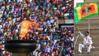 "L: The ""independence flame R: A man waves a Zanu-PF flag - Harare, Zimbabwe - Friday 18 April 2014"