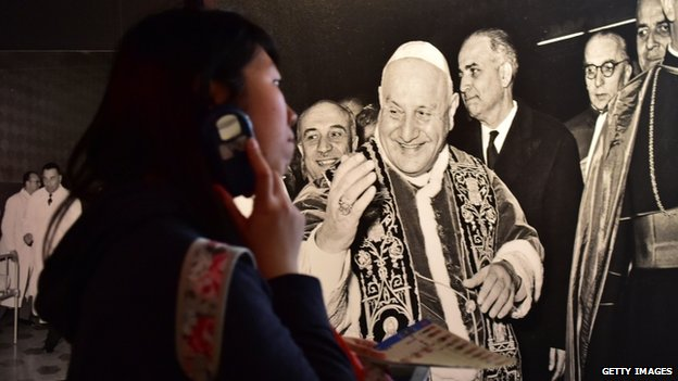 "An exhibition entitled 'The humility and courage that changed history"" is dedicated to late Popes John XXIII and John Paul II at the Vatican"
