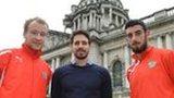 Liam Boyce, Sean Ward and Joe Gormley at Belfast City Hall