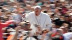 Pope Francis gives the thumbs-up on Easter Sunday in St Peter's Square at the Vatican