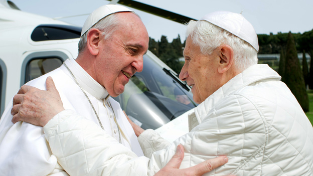 Pope Francis (left) meets Pope emeritus Benedict XVI in Castel Gandolfo - file pic
