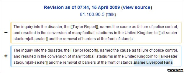 Wikipedia edit for Hillsborough disaster page on 15 April 2009