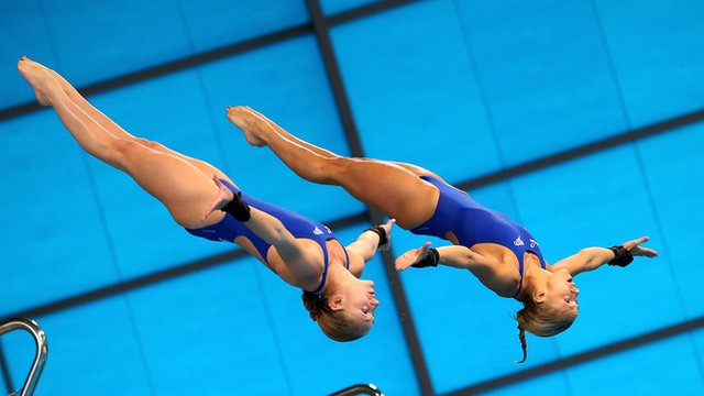 Tonia Couch and Sarah Barrow compete at the World Series synchronised 10m platform event at the London Aquatics Centre.