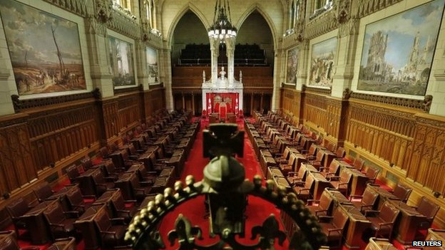 A view shows the Senate Chamber on Parliament Hill in Ottawa 24 April 2014
