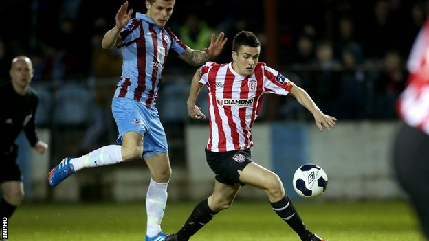 Michael Duffy scores for Derry City against UCD