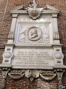 A marble plaque to Spanish Golden Age writer Miguel de Cervantes on a wall of the Convent of Trinitarians in central Madrid on 7 March