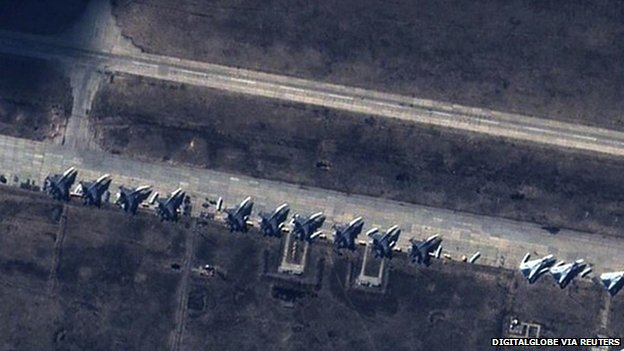 satellite image reported to show Russian Su-27/30 Flankers and Su-24 Fencers at military base in Buturlinovka, southern Russia. 2 Apr 2014