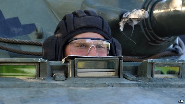 Ukrainian soldier in a tank near Sloviansk. 25 April 2014