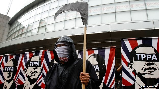 An activists protests against the Trans-Pacific Partnership deal in Kuala Lumpur. Photo: 26 April 2014