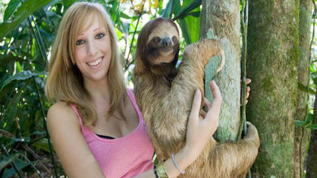 Rebecca Cliffe at the sloth sanctuary