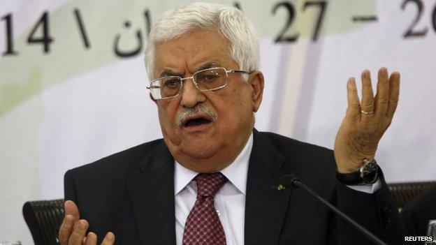 Palestinian President Mahmoud Abbas speaks in Ramallah. Photo: 26 April 2014