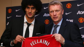 Marouane Fellaini (left) joined Manchester United last summer