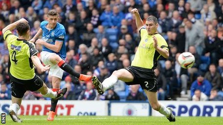 Fraser Aird scores for Rangers against Stranraer