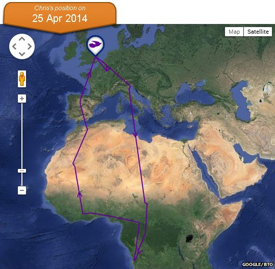 Map of Chris the cuckoo's 2013-14 migration route