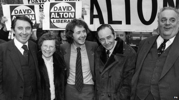 Liberal MP David Alton and his parents celebrate his by-election victory at Edge Hill, with David Steel and Cyril Smith