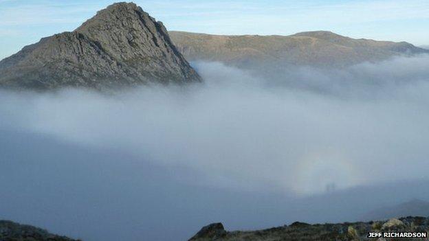 Tryfan peak appearing from cloud, with Brocken image captured