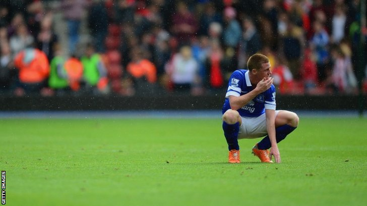 A dejected James McCarthy of Everton