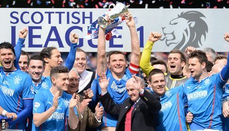 Rangers players celebrating with the League One trophy
