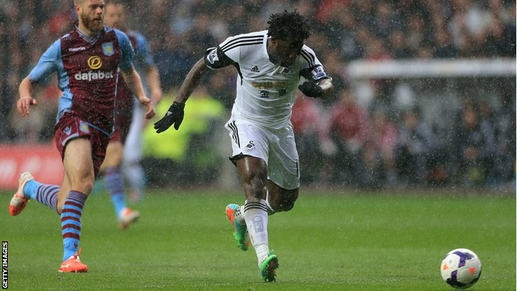 Wilfried Bony shoots to score his team's opening goal