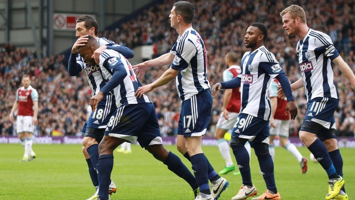Saido Berahino celebrates scoring against West Ham