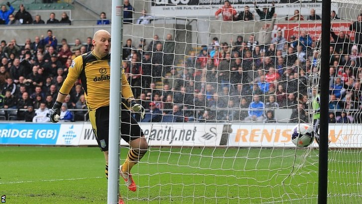 Guzan reacts after Swansea City's Jonjo Shelvey scores his side's second goal