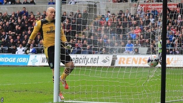 Brad Guzan is beaten by Jonjo Shelvey volley