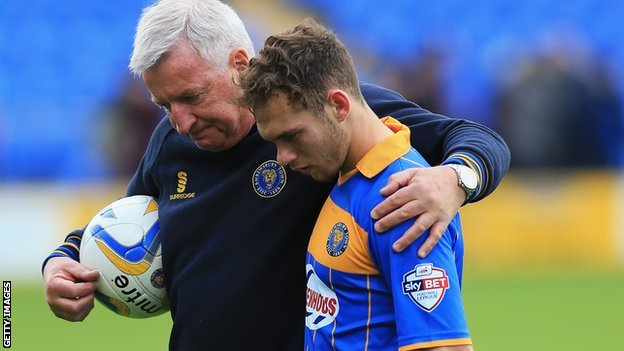 Jon Taylor consoled after relegation