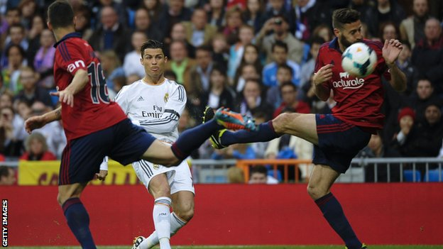 Cristiano Ronaldo scores to put Real Madrid ahead against Osasuna