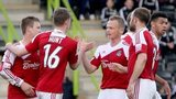 Wrexham celebrate Johnny Hunt's equaliser against Forest Green Rovers
