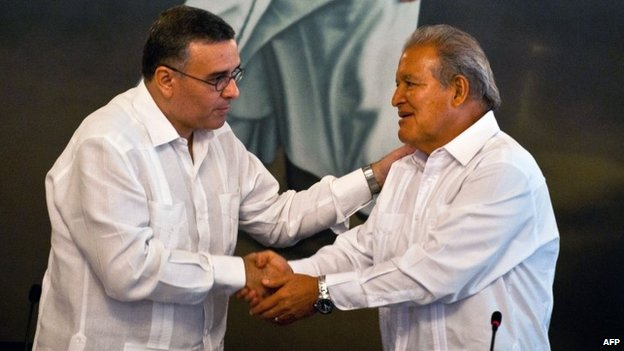 Mauricio Funes (left) and Salvador Sanchez Ceren (right), 17 March