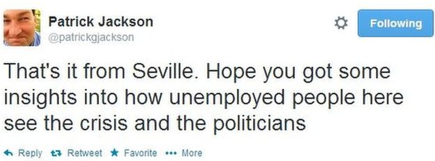 Patrick's last tweet of the night: That's it from Seville. Hope you got some insights into how unemployed people here see the crisis and the politicians