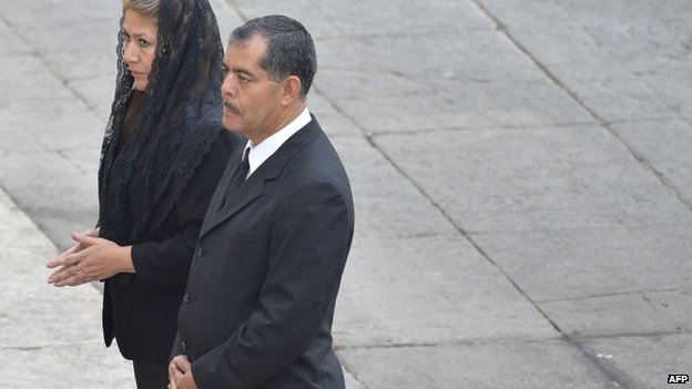 Floribeth Mora arrives with her husband Edwin Arce for the canonisation of Popes John XXIII and John Paul II at St Peter's at the Vatican on April 27