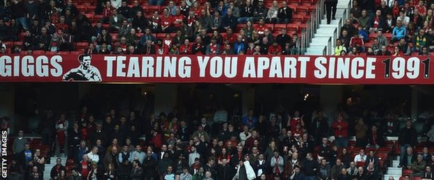 Ryan Giggs banner at Old Trafford