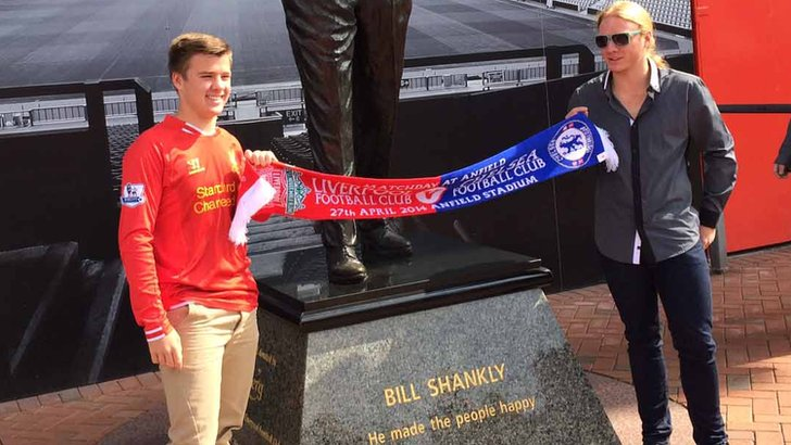 Liverpool and Chelsea supporting brothers outside Anfield