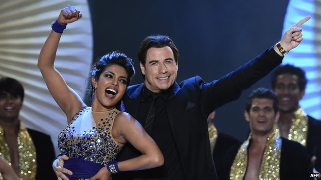 Bollywood actress Priyanka Chopra with John Travolta