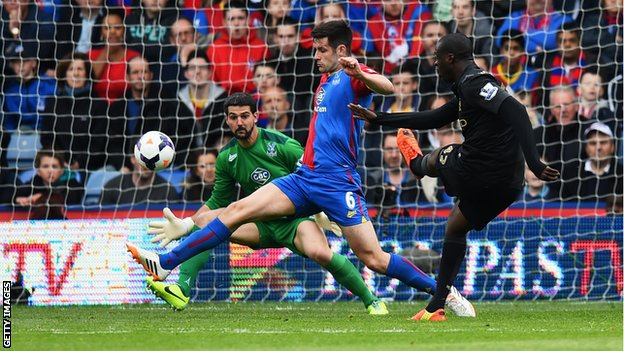 Yaya Toure gives Manchester City a 2-0 lead against Crystal Palace at Selhurst Park