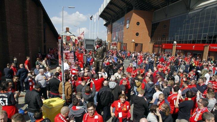 Fans outside Anfield