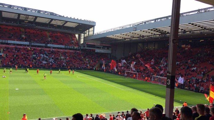 Fans inside Anfield