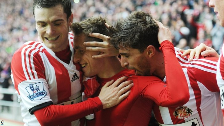Sunderland celebrate their third goal