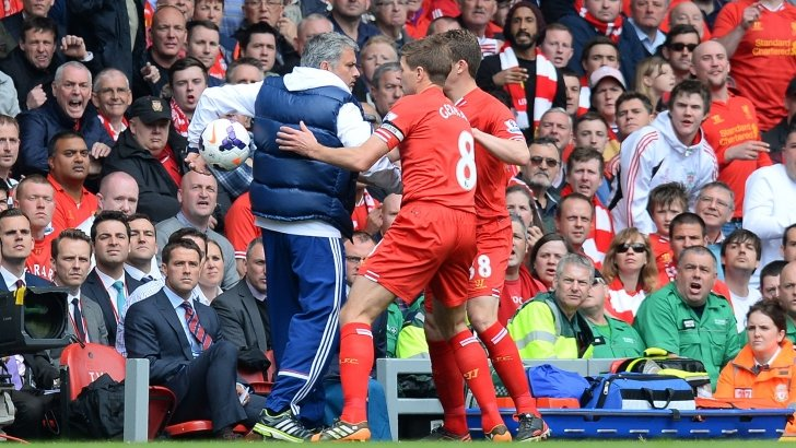 Jose Mourinho and Steven Gerrard tangle on the touchline