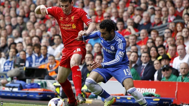 Chelsea's Mohamed Salah (right) and Liverpool's Jon Flanagan battle for the ball during