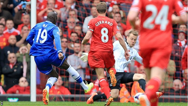"Chelsea's Demba Ba scores his team""s opening goal"
