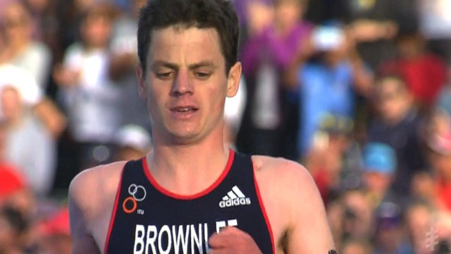 Great Britain's Jonny Brownlee is comfortably beaten by Javier Gomez of Spain at the ITU Triathlon World Series in Cape Town.