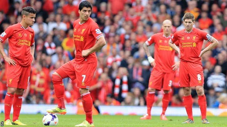 Liverpool's Phillippe Coutinho, Luis Suarez and Steven Gerrard  wait to restart the match after half time