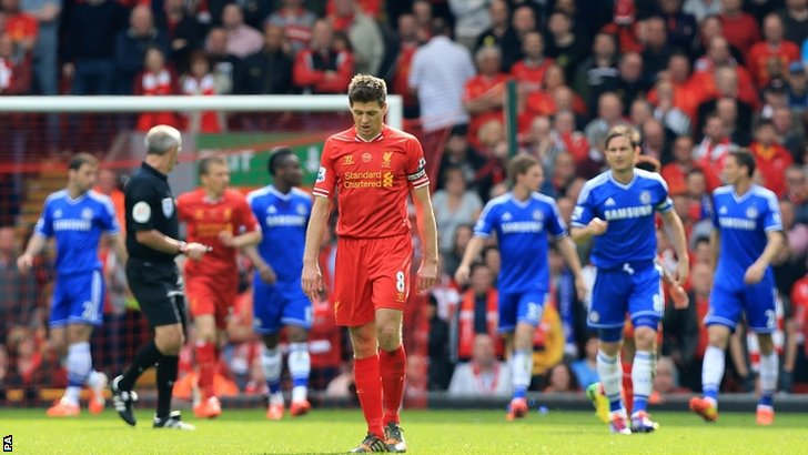 Liverpool's Steven Gerrard appears dejected