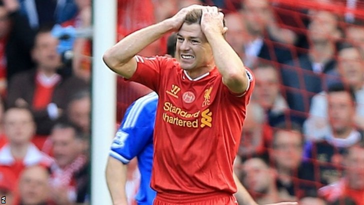 Liverpool's Steven Gerrard rues a missed chance