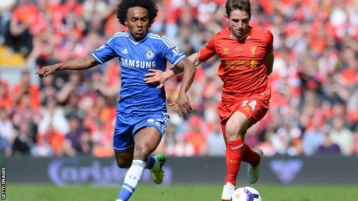 Chelsea's Brazilian midfielder Willianvies for the ball with Liverpool's Welsh midfielder Joe Allen