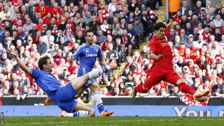 Chelsea's Branislav Ivanovic challenges Liverpool's Luis Suarez